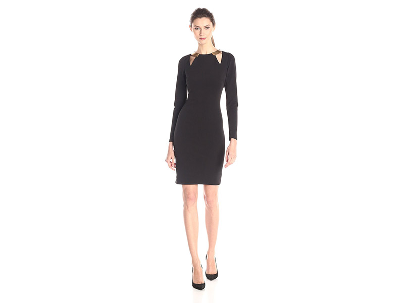 HALSTON HERITAGE Long Sleeve Round Neck Fitted Dress with Cut Outs