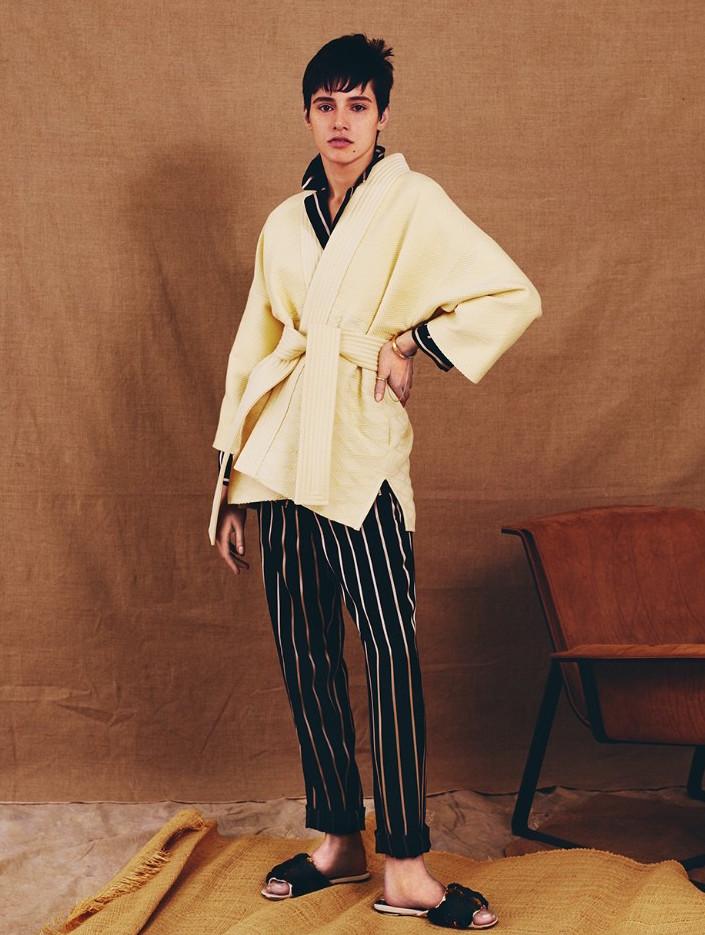 Hillier Bartley Waffle-texture Belted Kimono Jacket