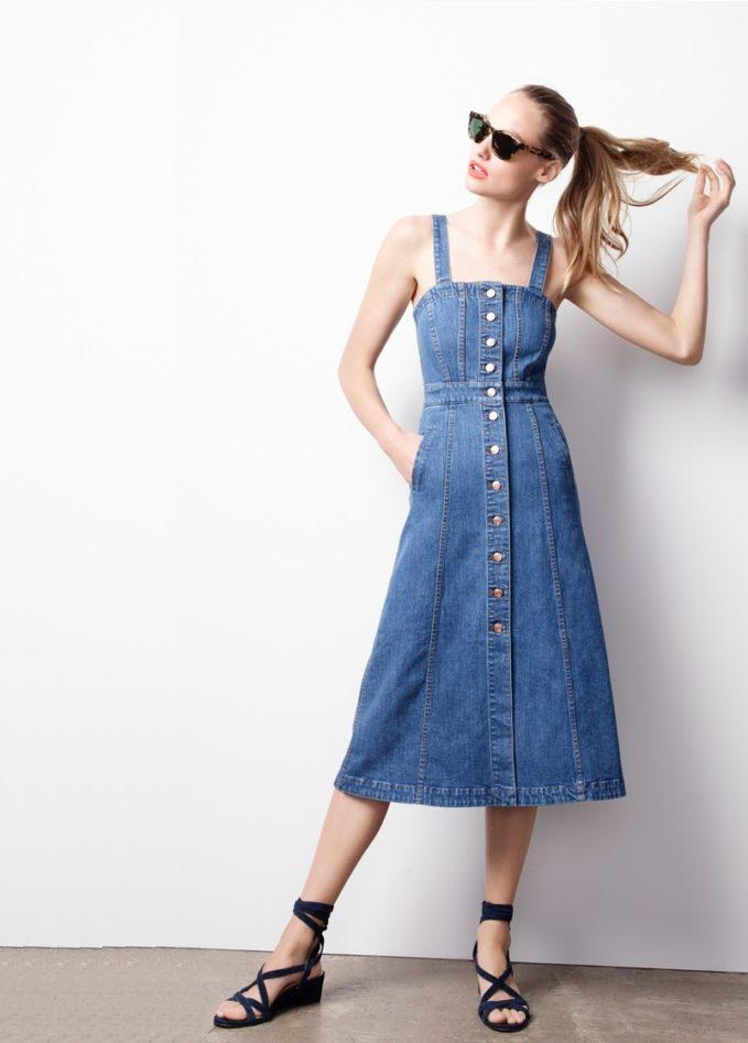 J.Crew Button-front dress in denim -
