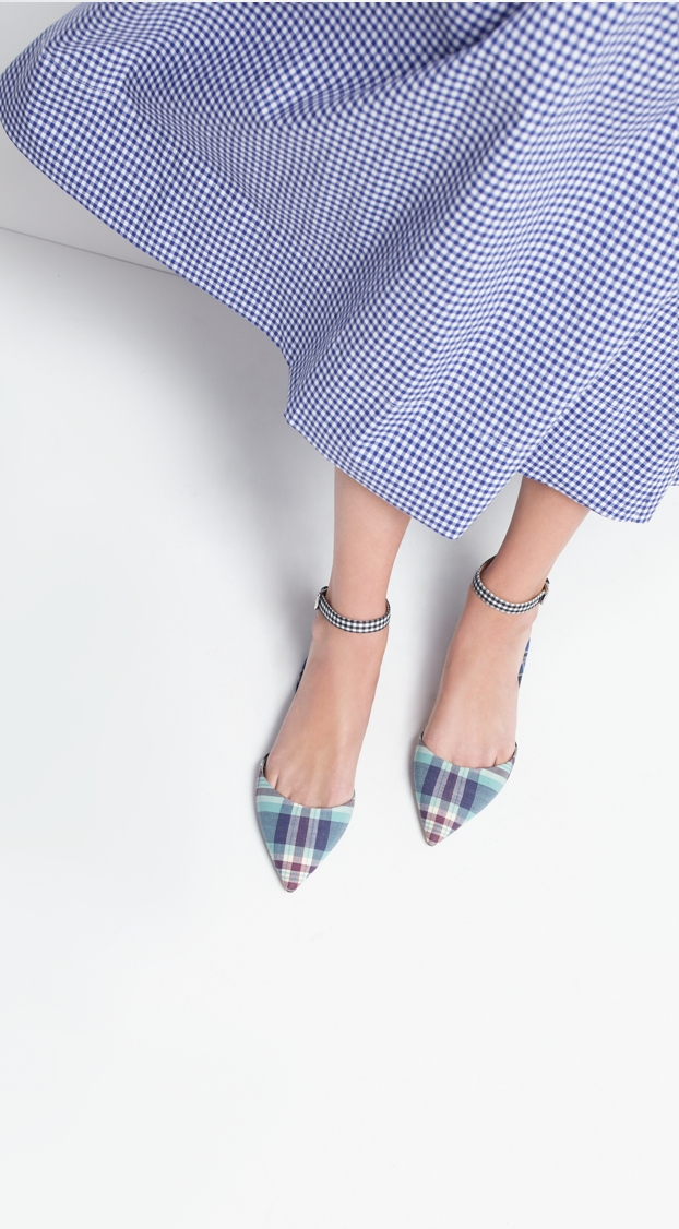 J.Crew Mixed plaid flats with ankle strap