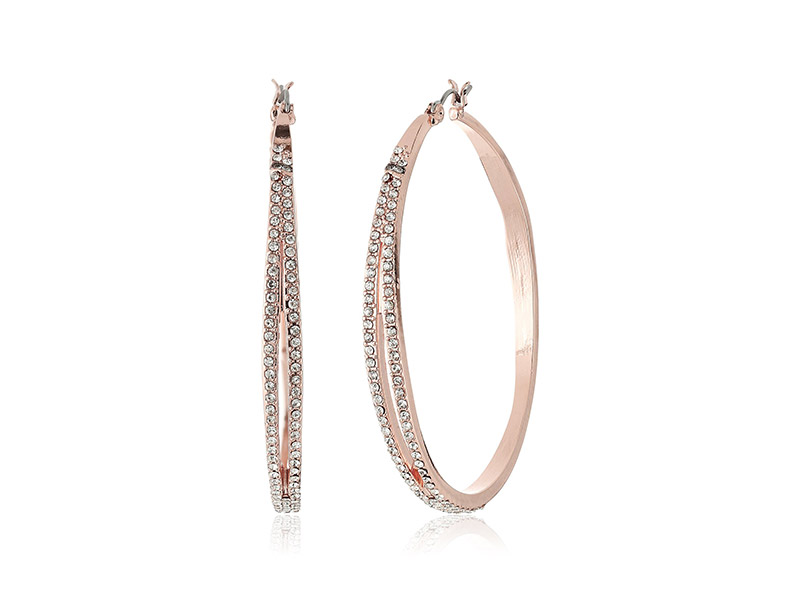 Jessica Simpson Large Split Organic Pave Hoop Earrings