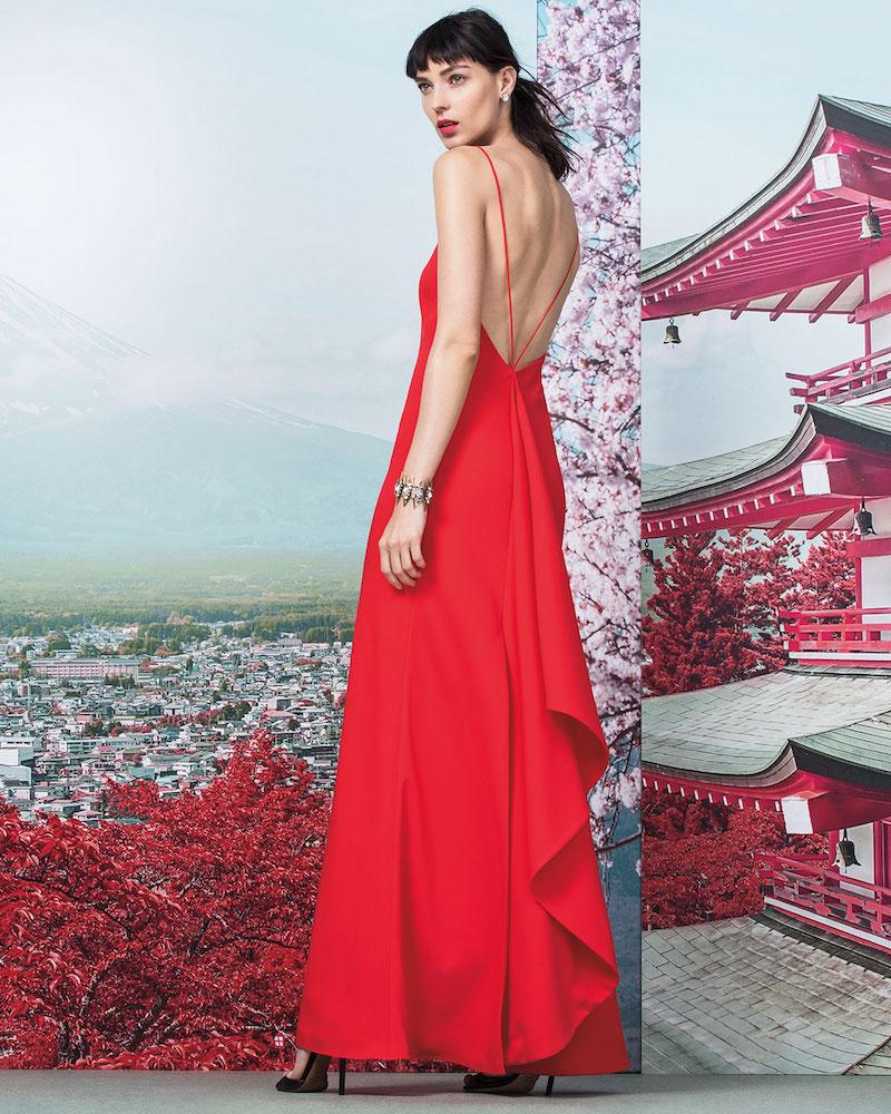 Jill Jill Stuart Sleeveless Ruffle-Back Column Gown