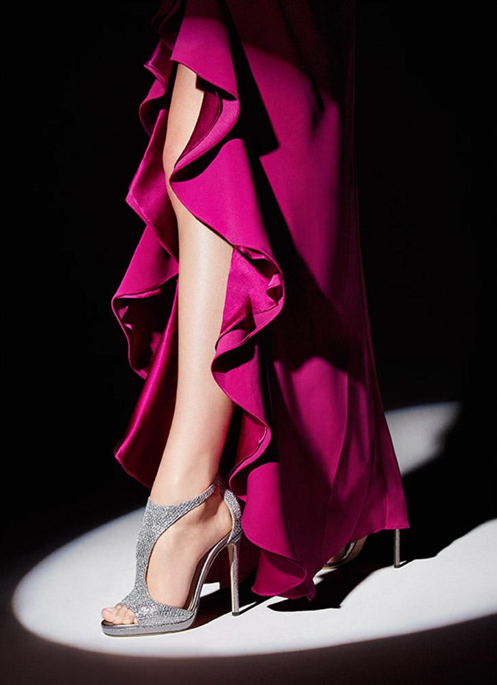 Jimmy Choo Glitter & Leather T-Strap Sandals