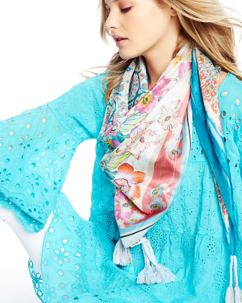 Johnny Was Collection Ajamite Floral-Print Silk Scarf