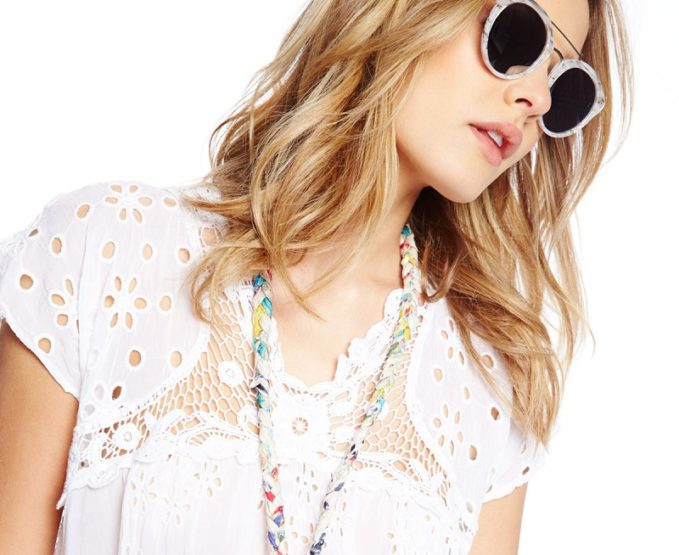 Johnny Was Collection Cap-Sleeve Empire Crochet & Eyelet Blouse