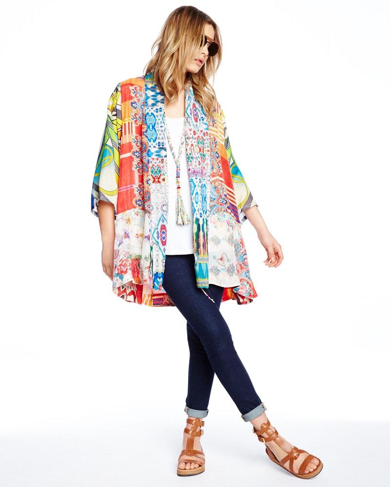 Johnny Was Collection Mix-Print Kimono Jacket-