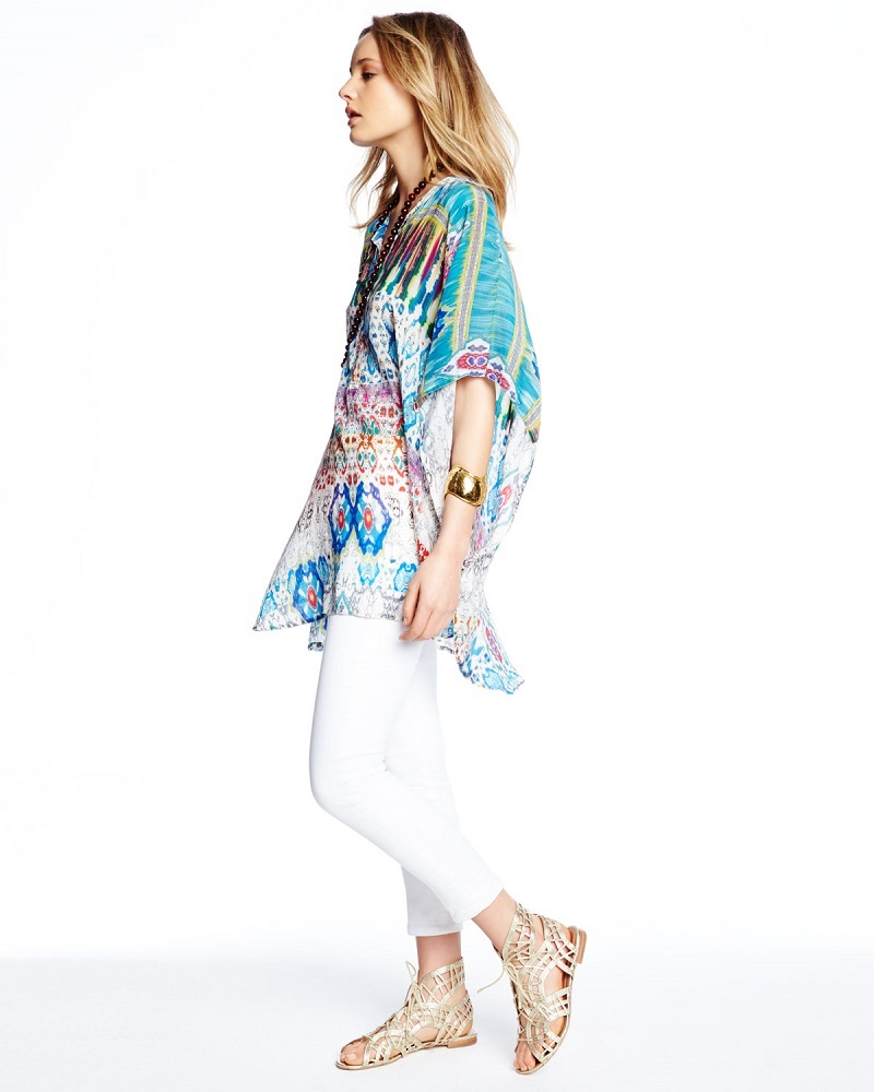 Johnny Was Collection Perro Printed Dolman-Sleeve Poncho