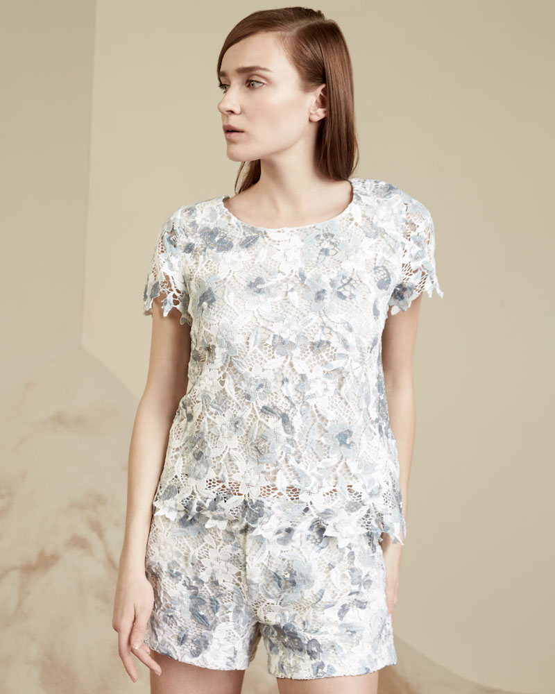 Joie Devine Short-Sleeve Lace Top