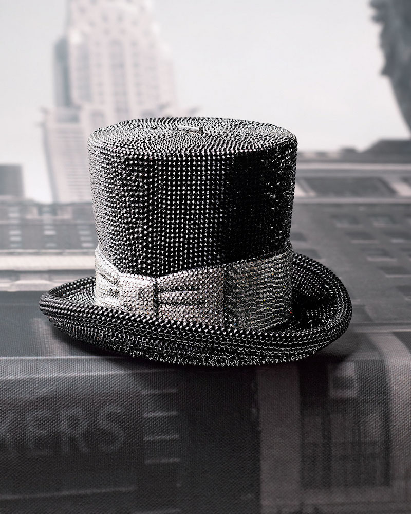Judith Leiber Couture Top Hat Crystal Clutch Bag