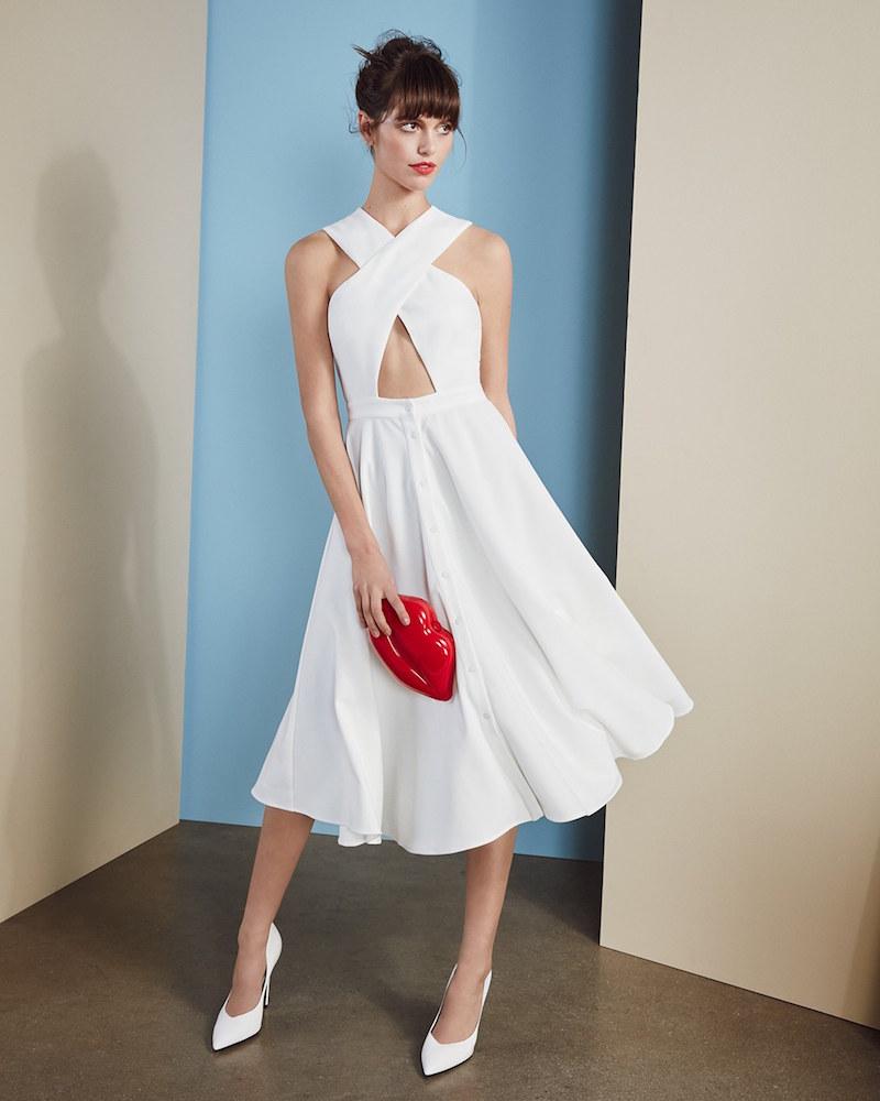 KENDALL + KYLIE Crossover Bodice Midi Dress