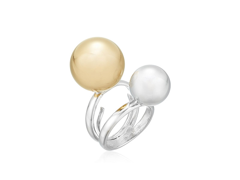 Kenneth Jay Lane Silver Band Double Gold/Silver Polished Ball Adjustable Ring
