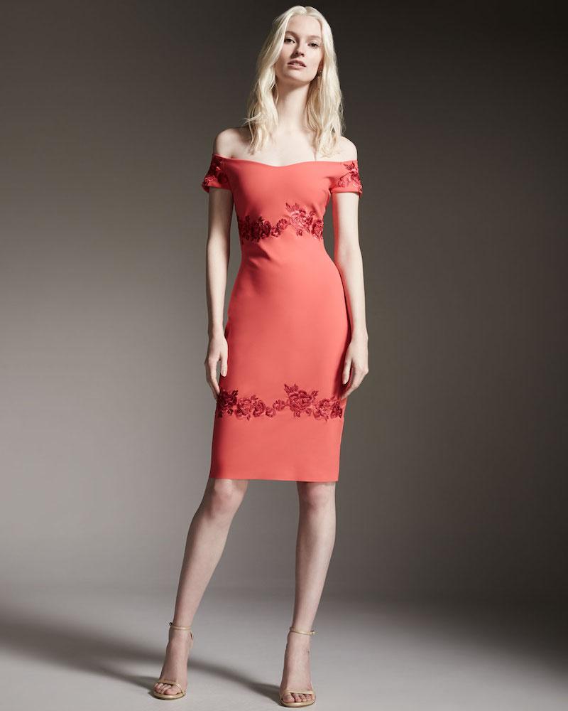 La Petite Robe di Chiara Boni Tasha Off-the-Shoulder Floral-Embroidered Sheath Dress