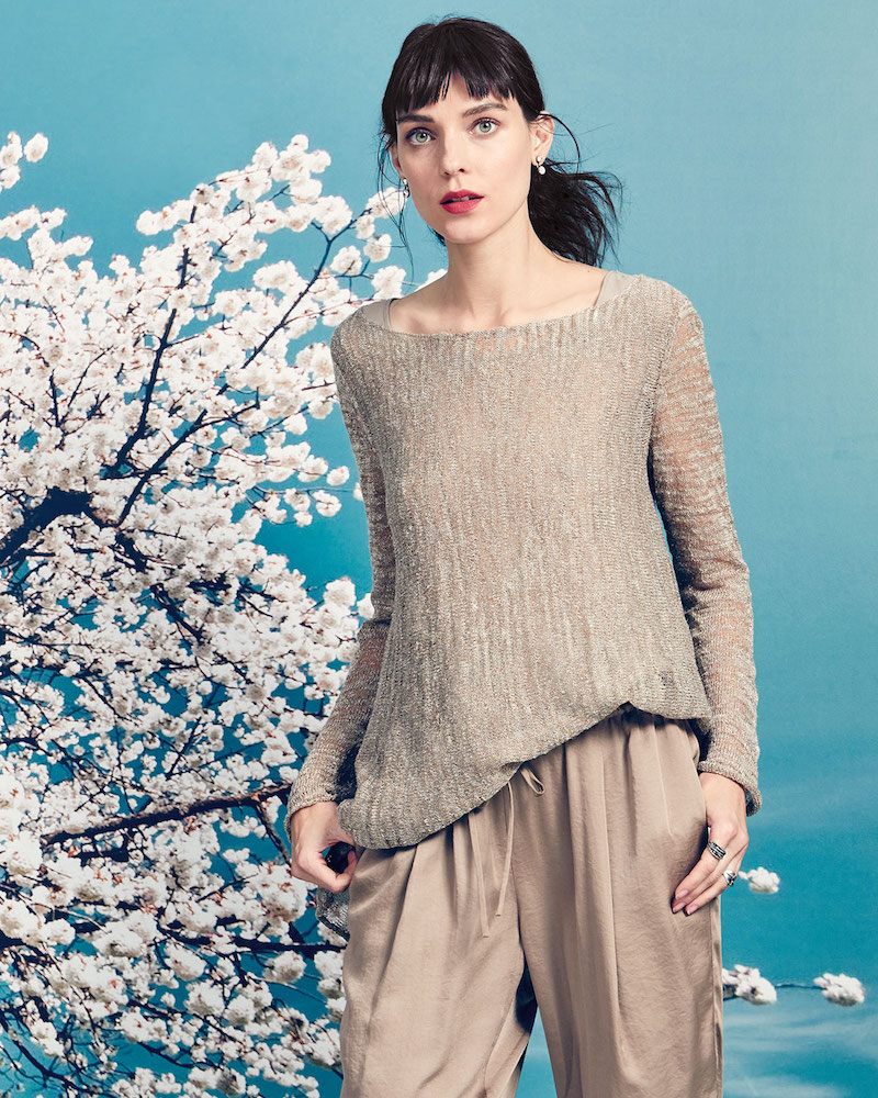 Lafayette 148 New York Layered Sweater with Georgette Tank