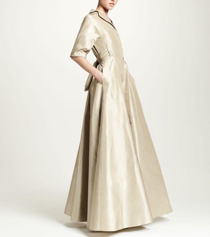 Lela Rose Half-Sleeve Faux-Wrap Gown-