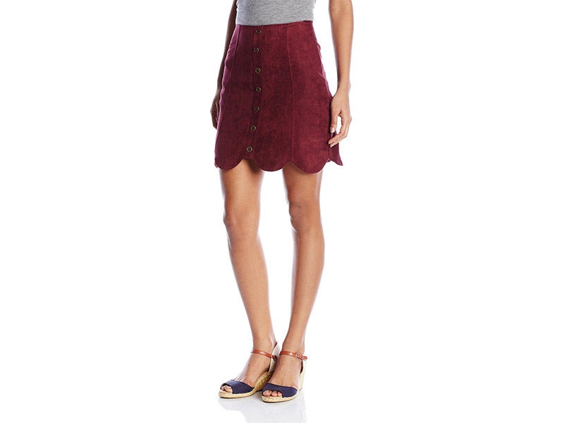 Love By Design Scallop Edge Faux Suede Skirt