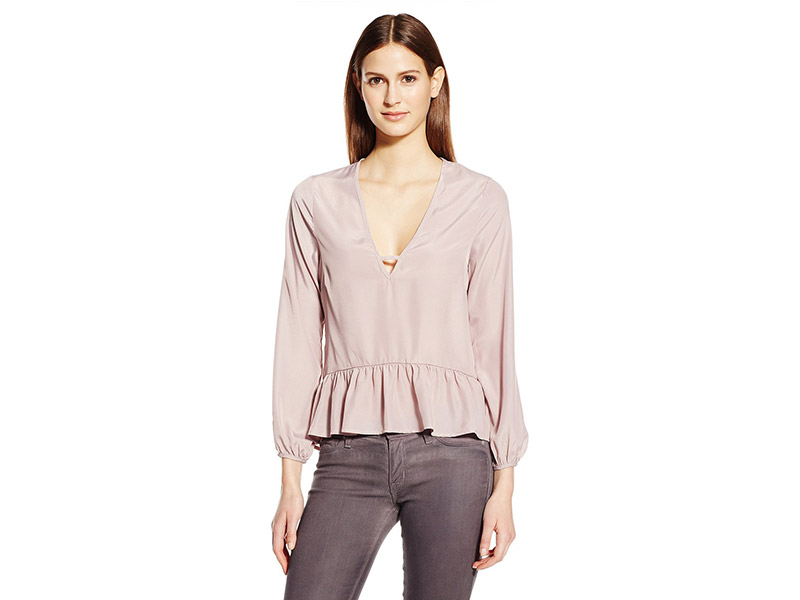 Lucca Couture Long Sleeve Peplum Woven Top