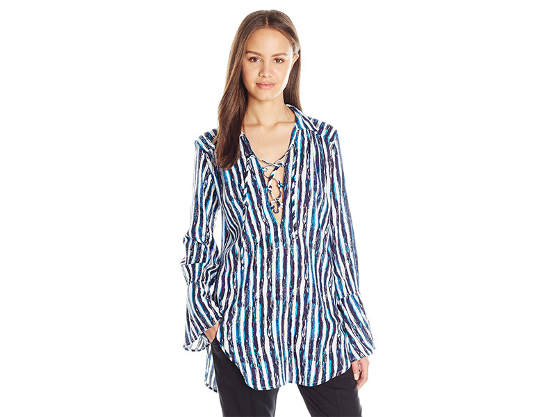 Lucy Love Moody Blues Stripe Lace Up Tunic Top