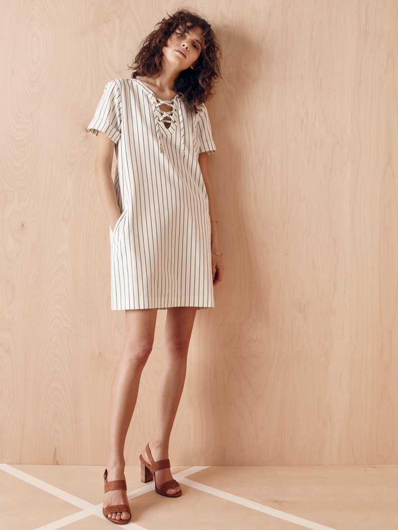 Madewell Harbor Lace-Up Shift Dress