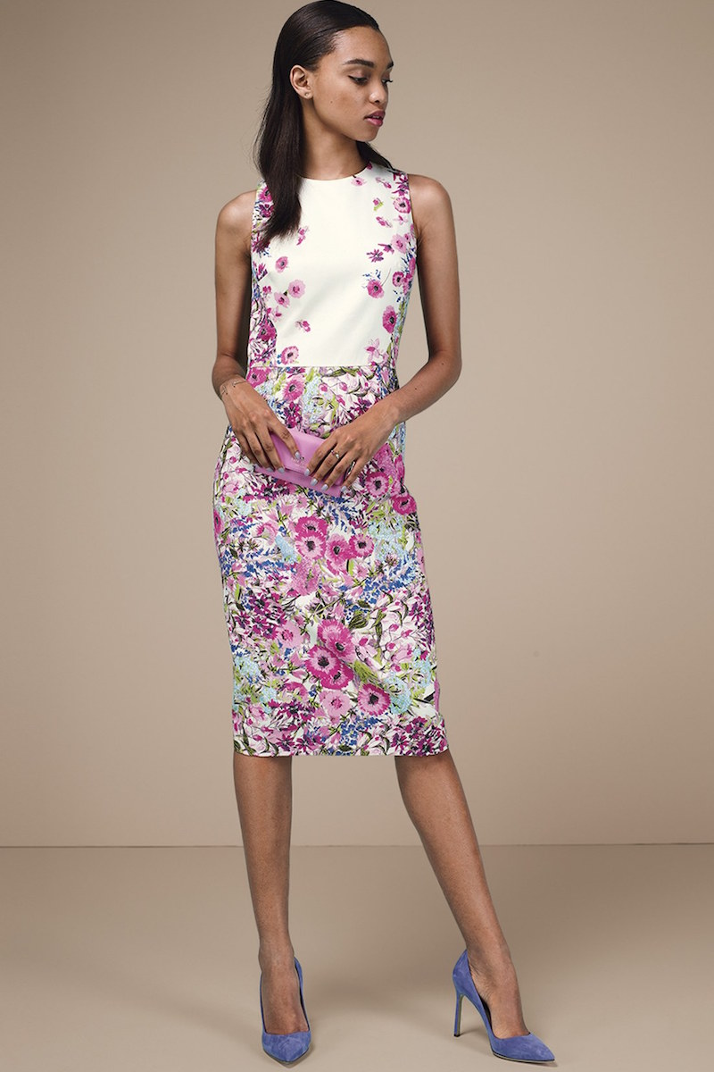 Maggy London Floral Print Stretch Cotton Midi Dress