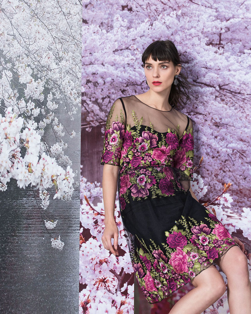 Marchesa Notte Half-Sleeve Floral-Embroidered Popover Dress