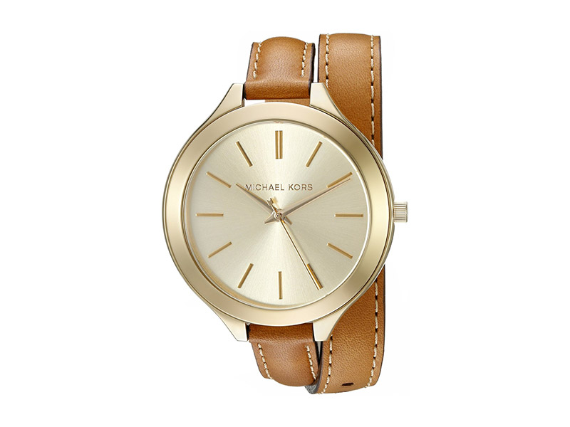 Michael Kors MK2256 Runway Watch With Brown Leather Wrap Band