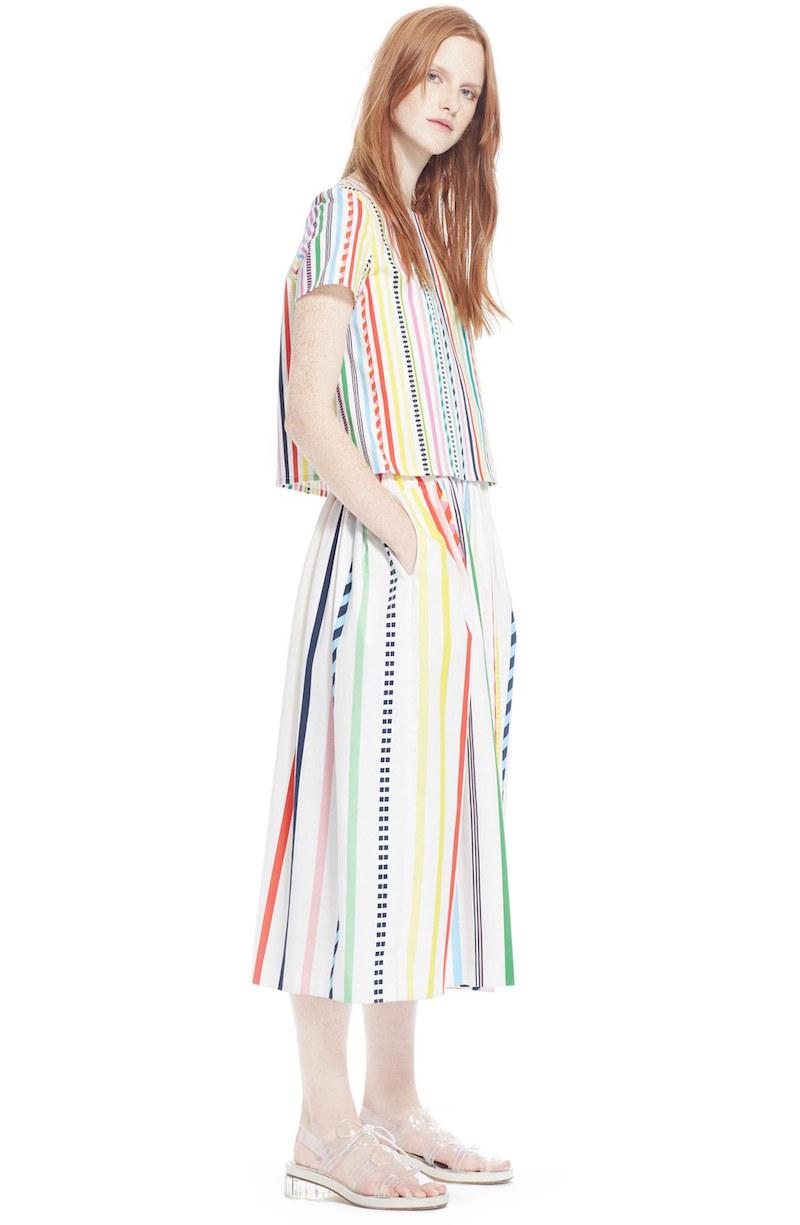 Mira Mikati Candy Stripe Print Popover Dress
