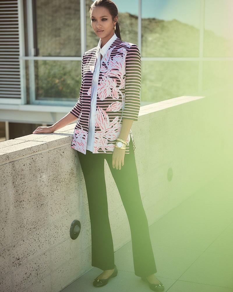 Misook Floral & Striped Jacket