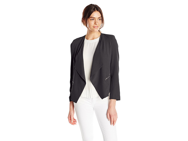 NY Collection Solid Long Sleeve Open Front Cascade Front Jacket