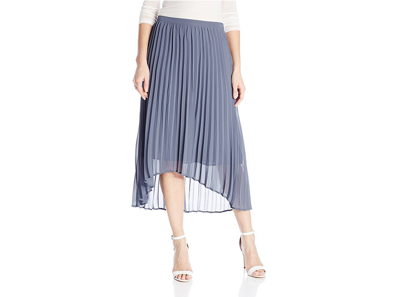 NY Collection Solid Pleated High Low Hem Skirt