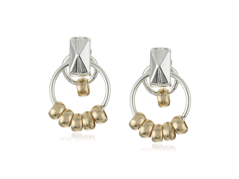 Napier Two Tone Shake Two-Tone Beaded Small Doorknocker Earrings