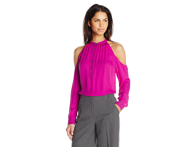 Nicole Miller Silk Ggt Shoulder Cut Out Blouse