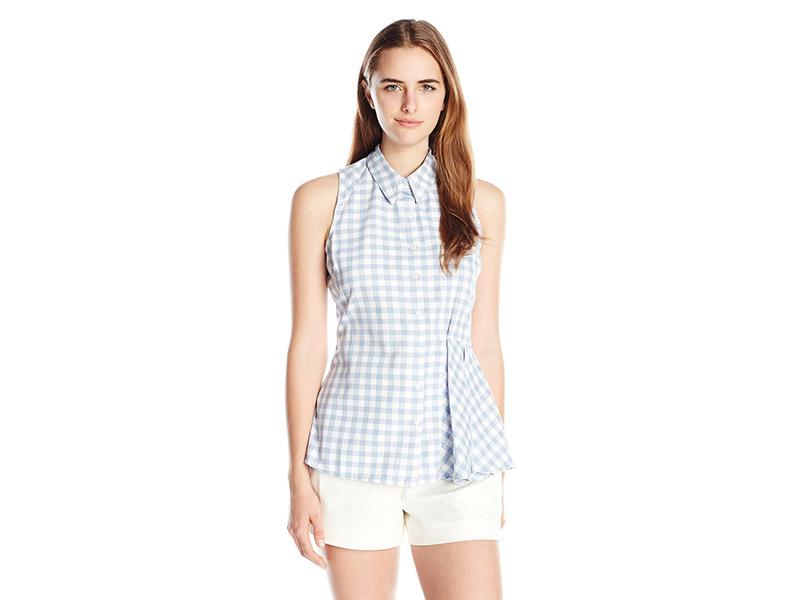 Olive & Oak Gingham Sleeveless Shirt