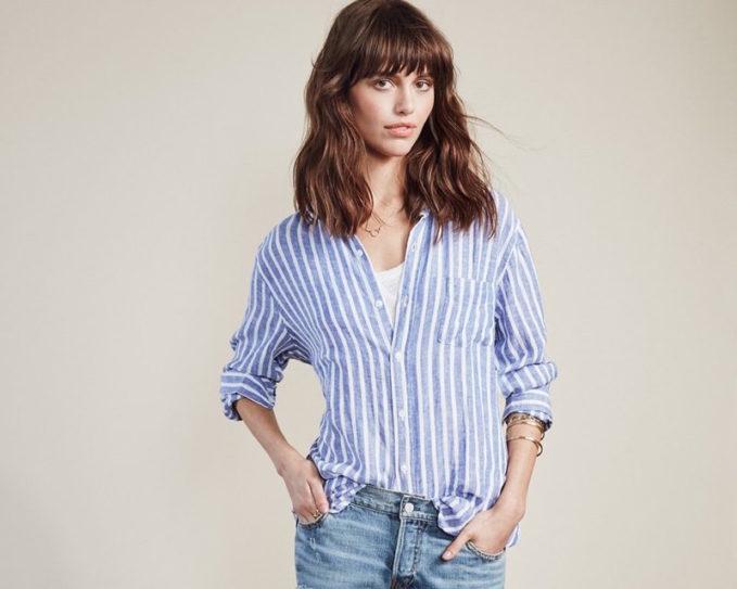 Rails Charli Stripe Linen Blend Shirt