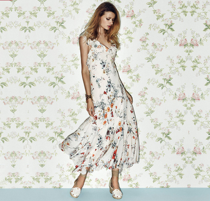 Rebecca Taylor Meadow Floral Ruffled Silk Dress