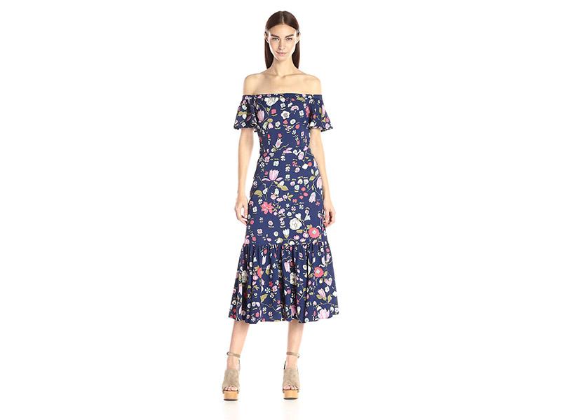 Rebecca Taylor Off-The-Shoulder Tap Garden Dress