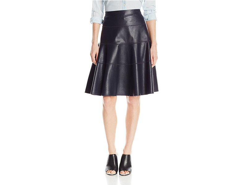 Rebecca Taylor Vegan Leather Flounce Skirt