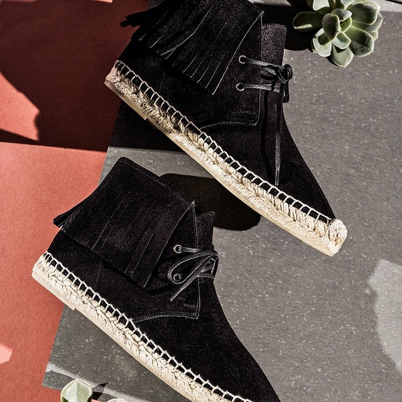 Saint Laurent Fringe Suede Espadrille Desert Boots