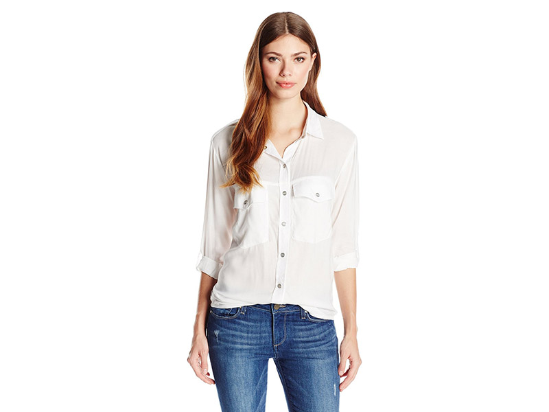 Sanctuary Clothing Solid Tencel Boyfriend Shirt