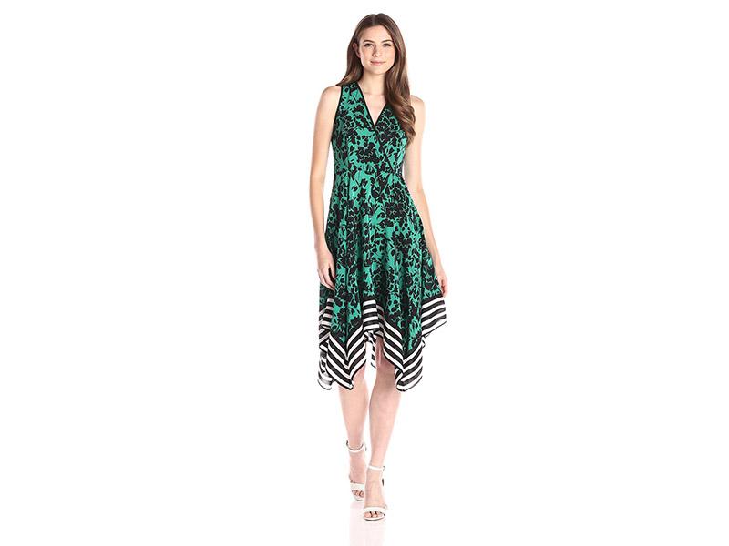 Shoshanna Floral with Stripe Border Emmy Dress