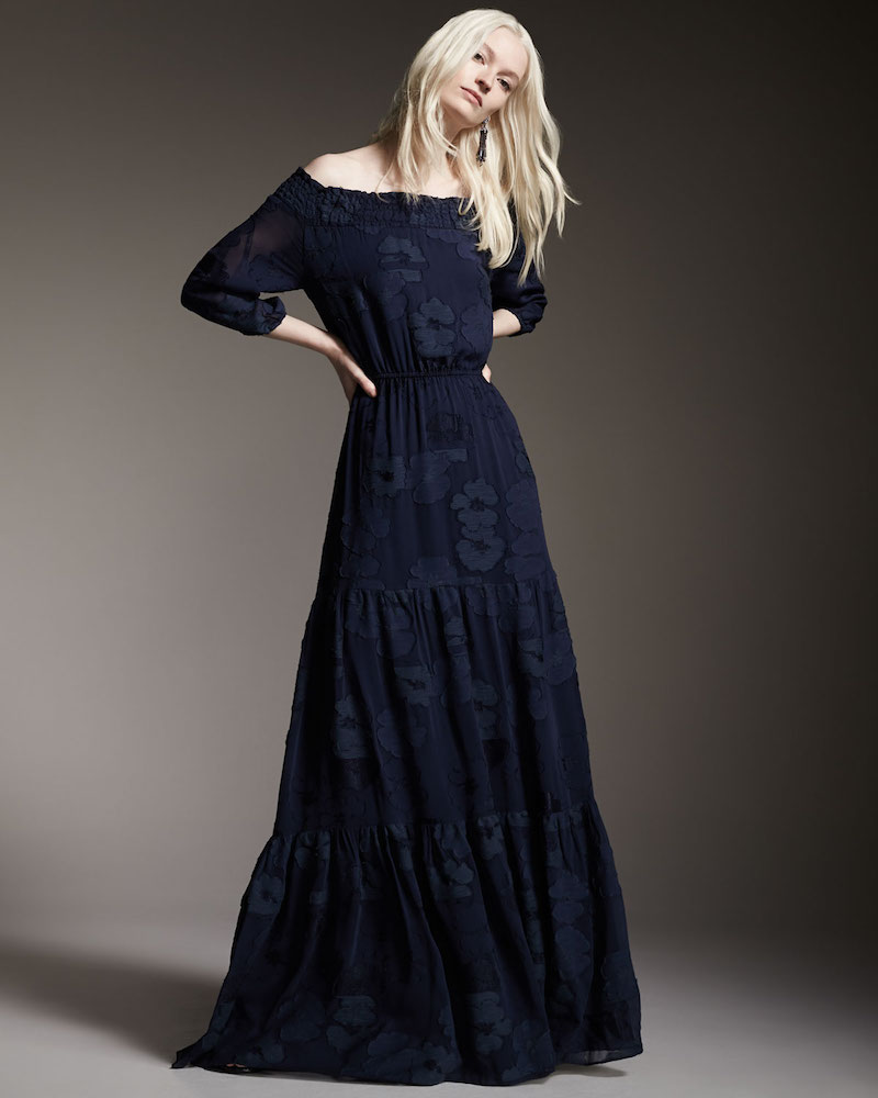 Shoshanna Off-the-Shoulder Jacquard Tiered Maxi Dress