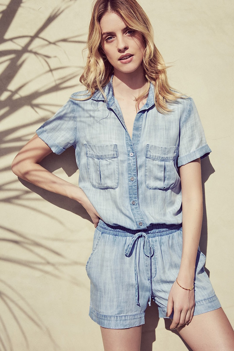 Side Stitch Short Sleeve Utility Romper