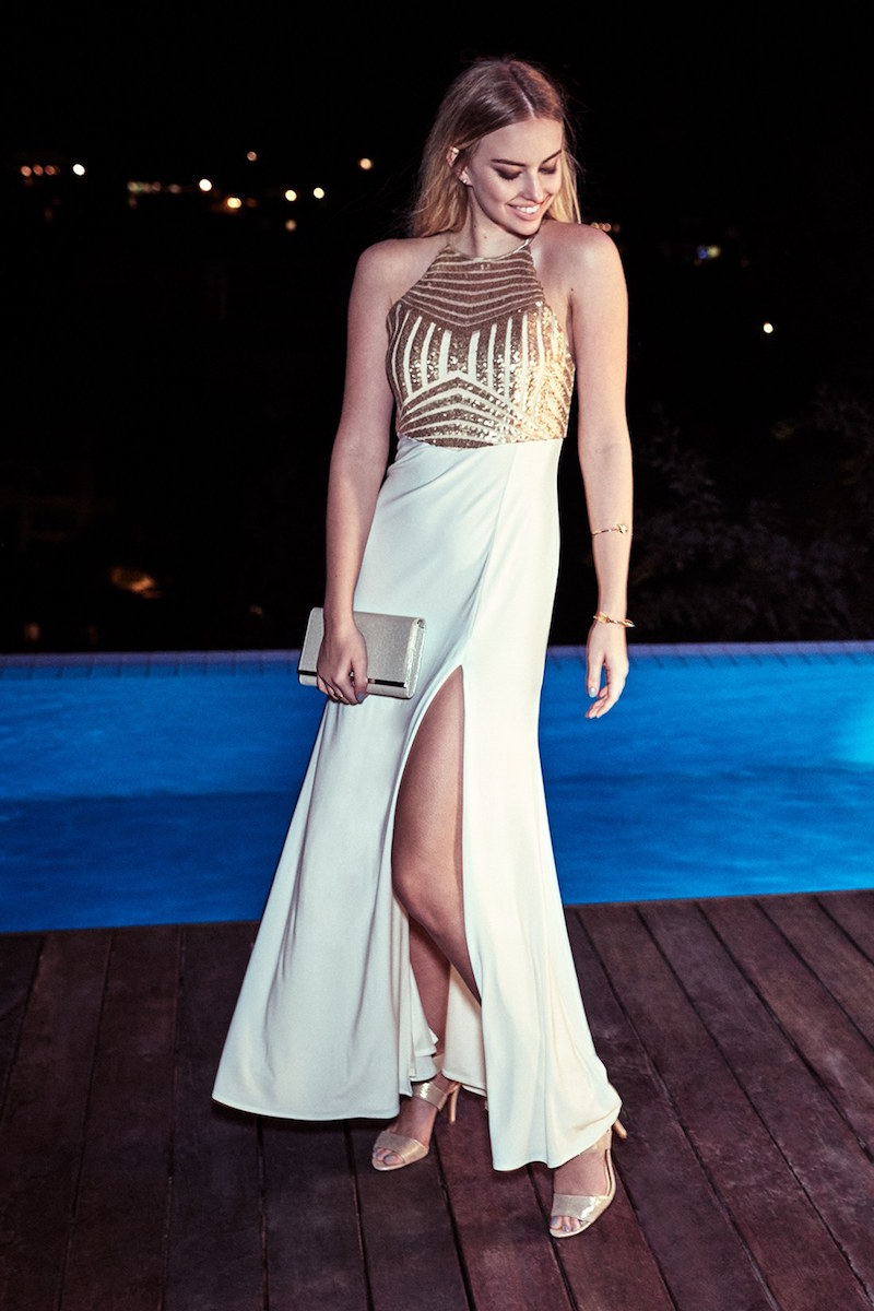 Steppin Out Sequin Halter Gown