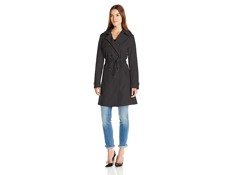 T Tahari Laurie Classic Double Breasted Trench Coat with Lace Detail