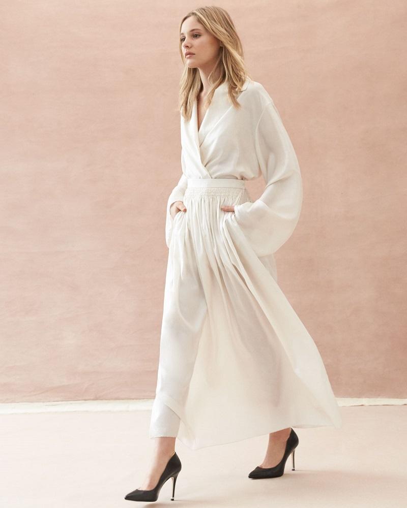 THE ROW Tovo High-Waist Silk Full Midi Skirt