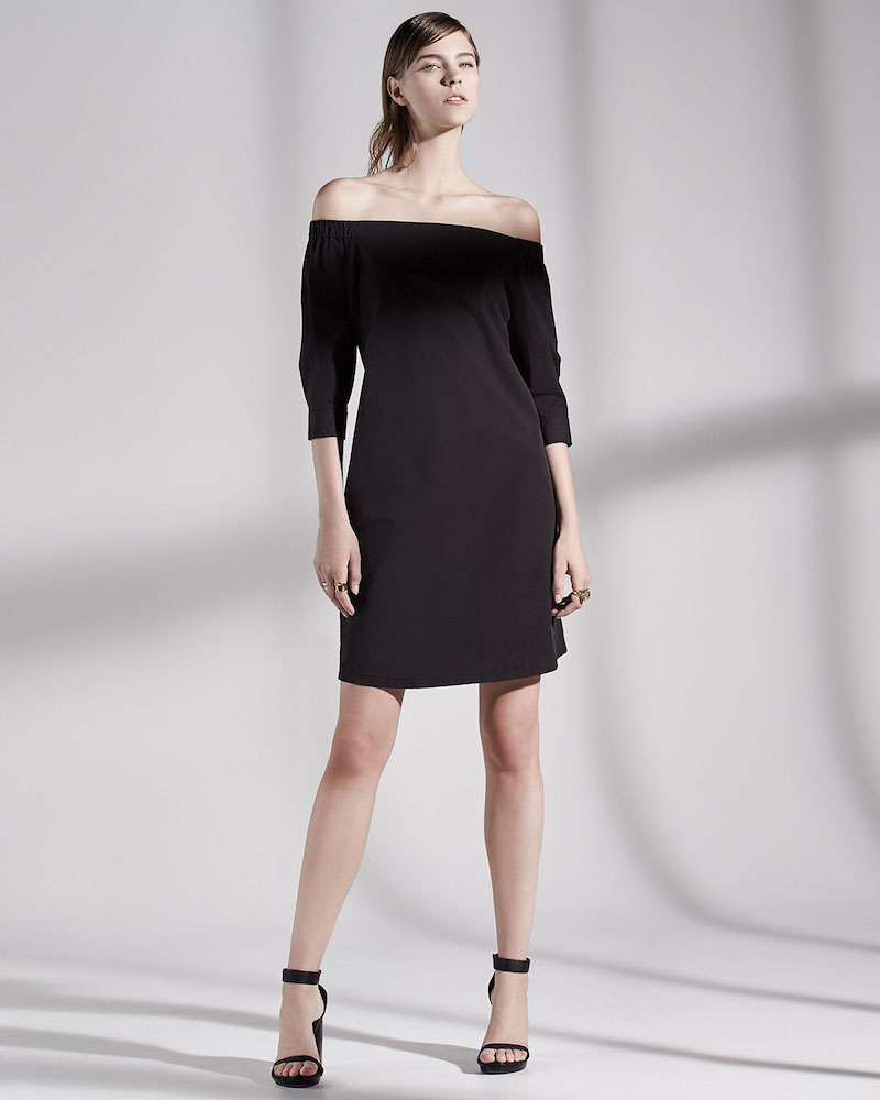 Theory Zizinna Off-the-Shoulder Poplin Dress