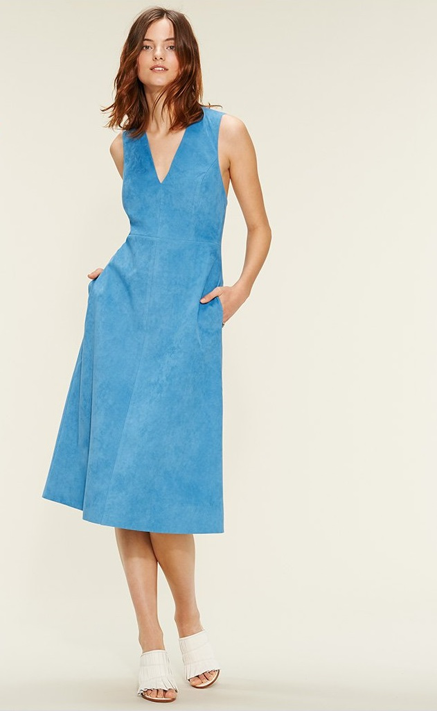 Tibi Faux Suede Overall Dress