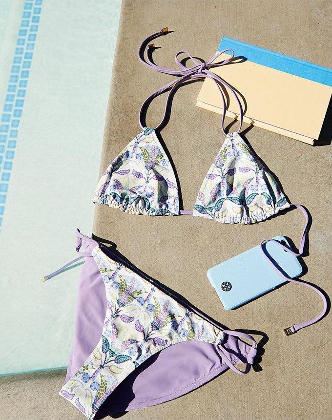Tory Burch Mosaic Reversible String Bikini Top