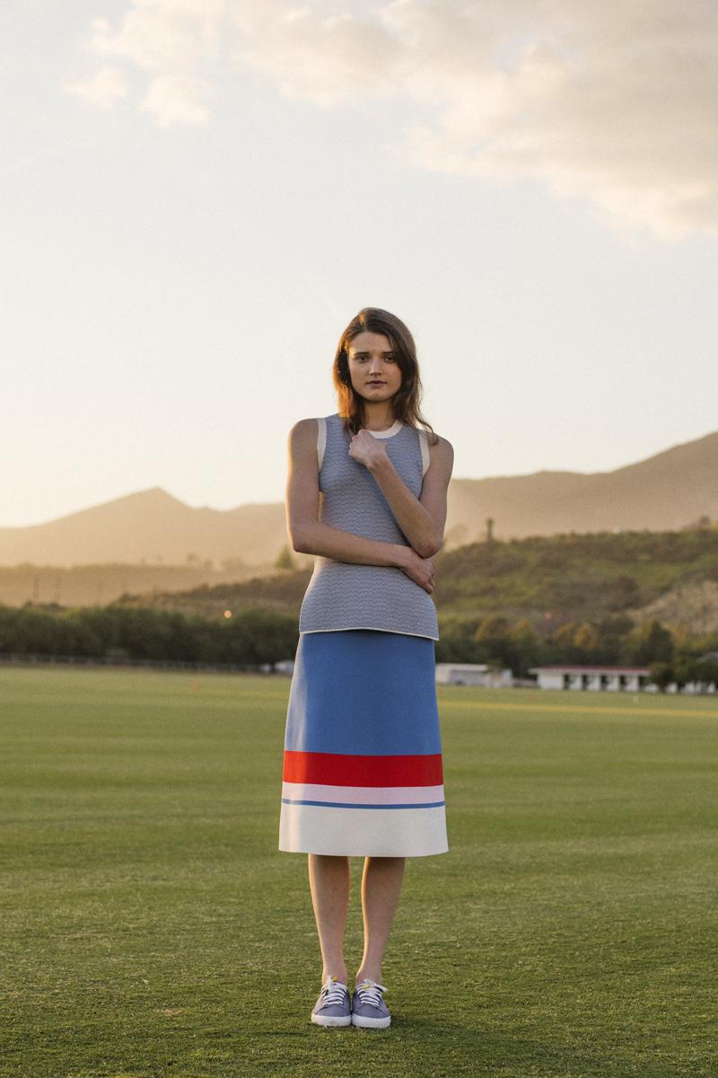 Tory Sport Tech-Knit Striped Skirt