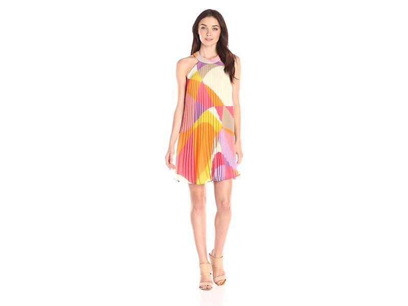 Trina Turk Analiah Pleated Halter Swing Dress