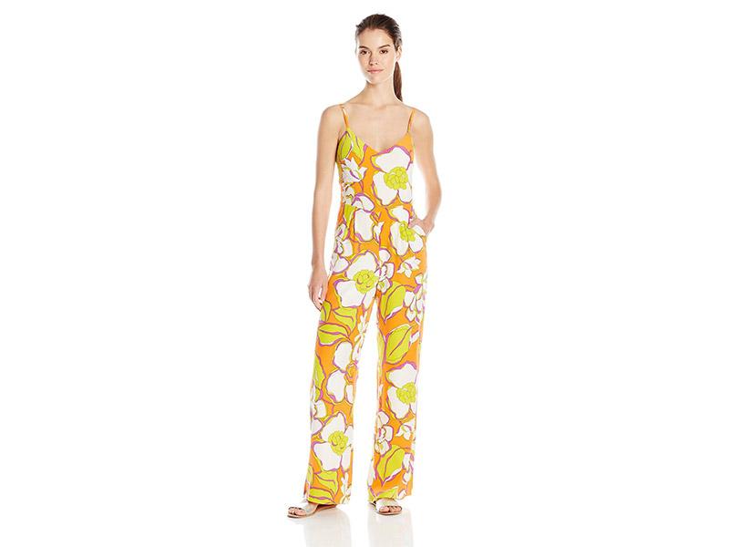 Trina Turk Zadie Ana Capri Floral Silk Crepe De Chine Jumpsuit
